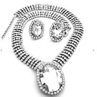 Edwardian Inspired Rhinestone Oval Necklace Set