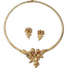 Georgian Gold Rhinestone Accented Choker Necklace Set