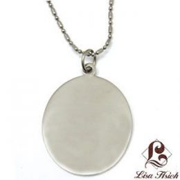 Stainless Steel Engravable Oval Dogtag Pendant