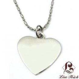 Stainless Steel Engravable Heart Dogtag Pendant
