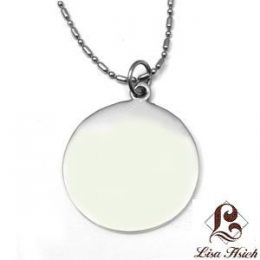 Stainless Steel Engravable Round Dogtag Pendant