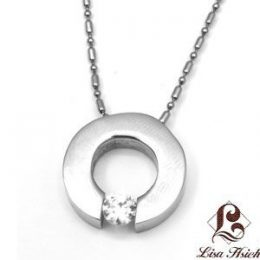 Urban-chic La Luce Stainless Steel Tension Set CZ Pendant Necklace