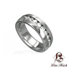 Stainless Steel Chanel Set CZ Diamond Ring