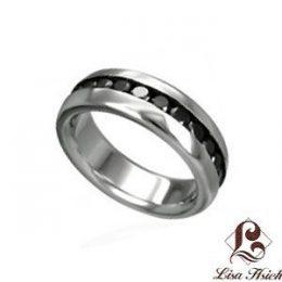 Stainless Steel Chanel Set Black Diamond CZ Men's Ring