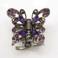 Swarovski Crystal Butterfly Antique Silver Hair Claw