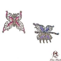 Victorian Style Swarovski Crystal Butterfly Hair Claw Clip