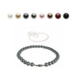 8mm Austrian Crystal Simulated Pearl Necklace