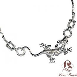 Noah's Ark CZ Diamond Accented Gecko Necklace