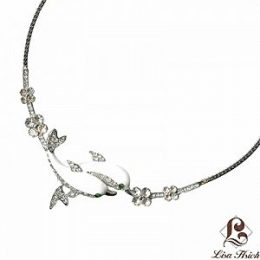 Noah's Ark CZ Diamond Accented Enamel Dolphin Necklace