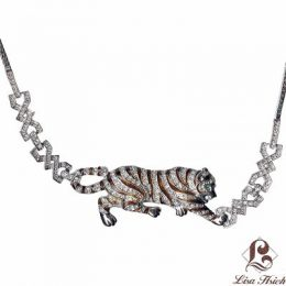 Noah's Ark CZ Diamond Accented Enamel Tiger Necklace