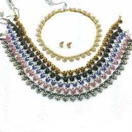 Victorian Rhinestone Choker Necklace Set