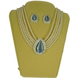 Lady Di Diamond Accented Briolette Pearl Choker Necklace Set