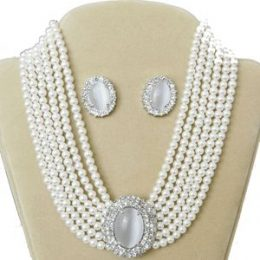 Lady Di Diamond Accented Oval Pearl Choker Necklace Set