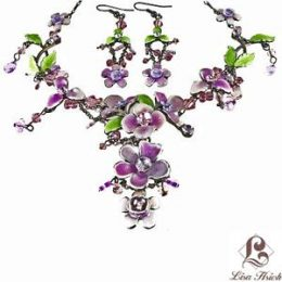 Victorian Enamel Rhinestone Crystal Necklace Set-NEC001