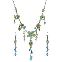 Victorian Enamel Rhinestone Crystal Necklace Set-NEC003