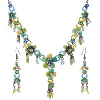 Victorian Enamel Rhinestone Crystal Necklace Set-NEC005