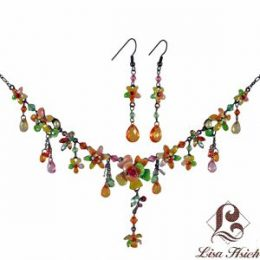 Victorian Enamel Rhinestone Crystal Necklace Set-NEC006