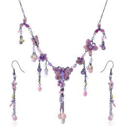 Victorian Enamel Rhinestone Crystal Necklace Set-NEC009