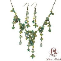Victorian Enamel Rhinestone Crystal Necklace Set-NEC010
