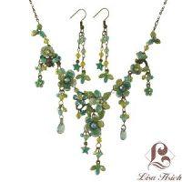 Victorian Enamel Rhinestone Crystal Necklace Set-NEC010