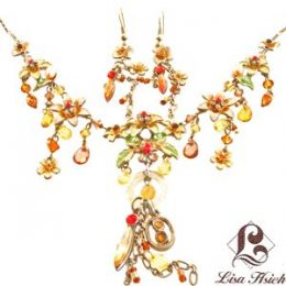 Victorian Enamel Rhinestone Crystal Necklace Set-NEC011