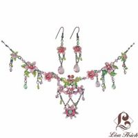 Victorian Enamel Rhinestone Crystal Necklace Set-NEC016