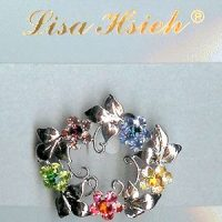 Art Nouveau Multi-color Rhinestone Garland Brooch