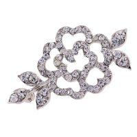 Victorian Rhinestone Crystal Flower Brooch
