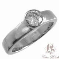 Stainless Steel CZ Diamond Solitaire Ring