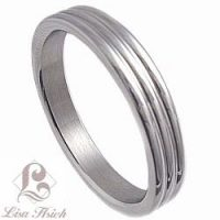 Stainless Steel Retro Modern Double Grooved Wedding Band
