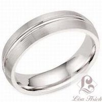 Stainless Steel Single Groove Men's Wedding Band