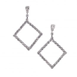 Rhinestone Diagonal Dangle Earrings