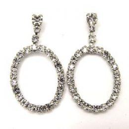 Rhinestone Oval Dangle Earrings