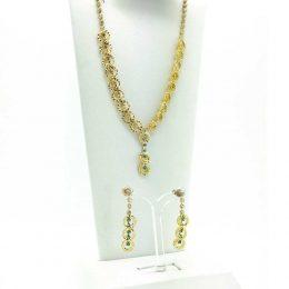 Victorian Rhinestone Gold Chandelier Necklace Set