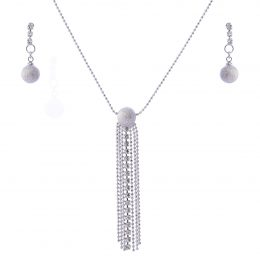 Rhinestone Tassel Necklace Set