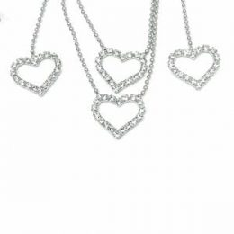 Rhinestone Heart Necklace Set