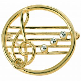 Gold-tone Pearl Accented Music Note Pin Brooch